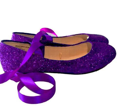 Sparkly Purple Glitter Ballet Flats shoes wedding bride Womens Satin Tie up Bow