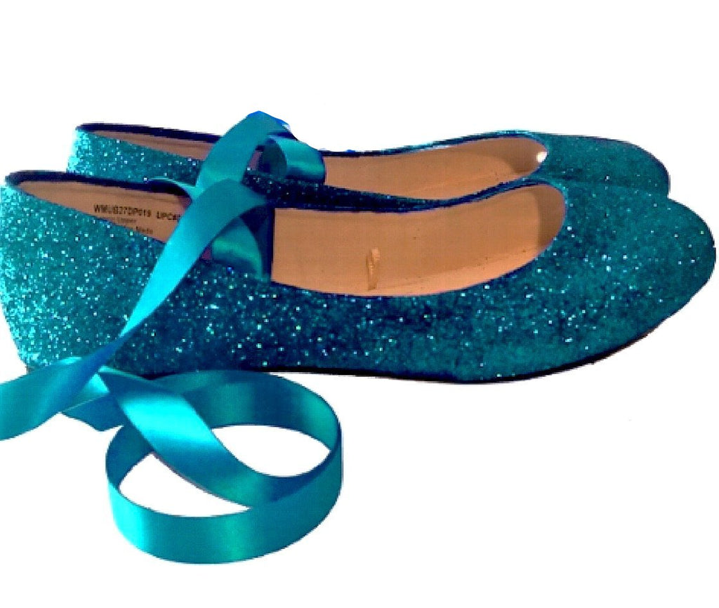 9162d9a40e7e86 Womens Sparkly Teal Glitter Ballet Flats with Satin ribbon Wedding Bridal  Shoes
