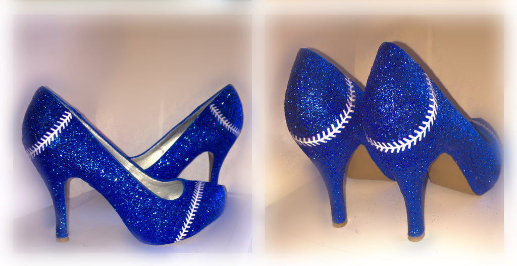 ... wedding bride Peep toe Pumps  new arrival c5113 ce3c5 ... Womens  Sparkly Royal Blue Glitter BASEBALL stitch high low ... c154cff4699d