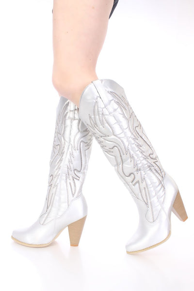 Women's Silver Metallic Cowboy Boot Boots Heels shoes  Size 11 Last pair sale