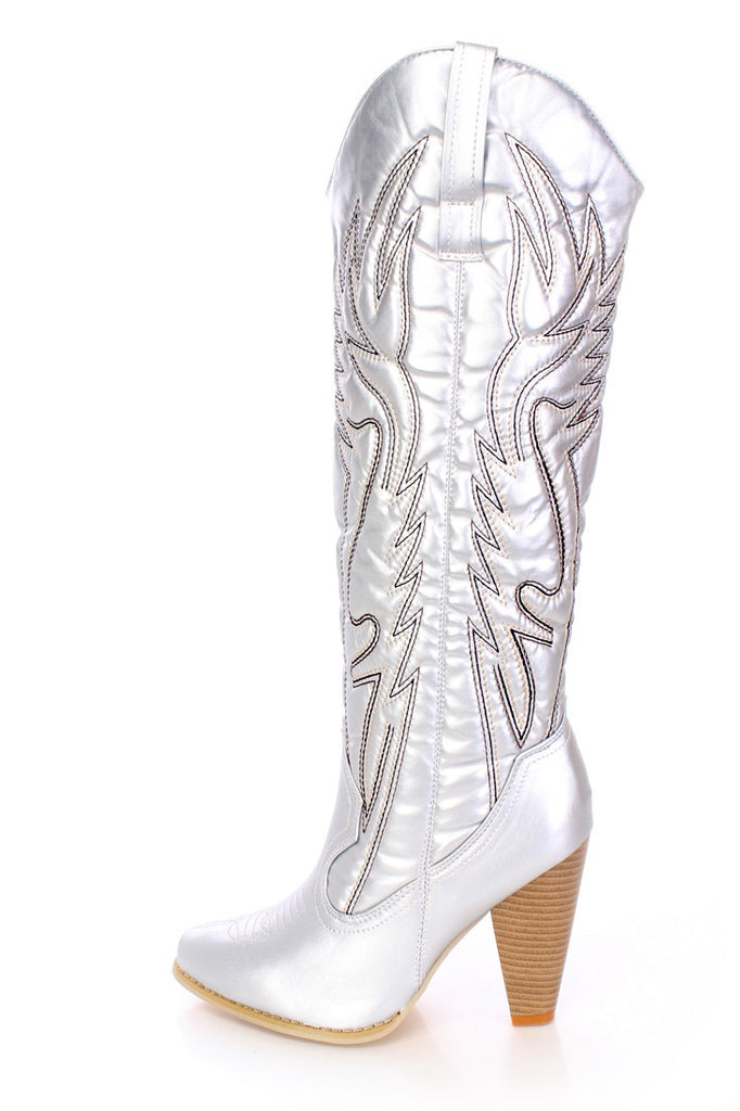 Women's Silver Metallic Cowboy Boot Boots Heels shoes