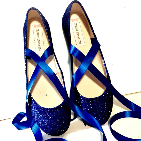 Sparkly Navy Blue Glitter Ballet Flats shoes wedding bride Womens Satin Tie up Bow