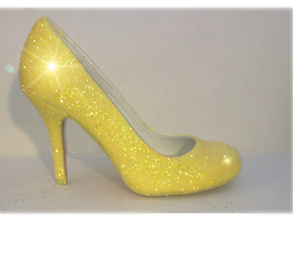 Sparkly Canary Daisy Yellow Glitter Pumps High Low Heels Wedding Bride Shoes