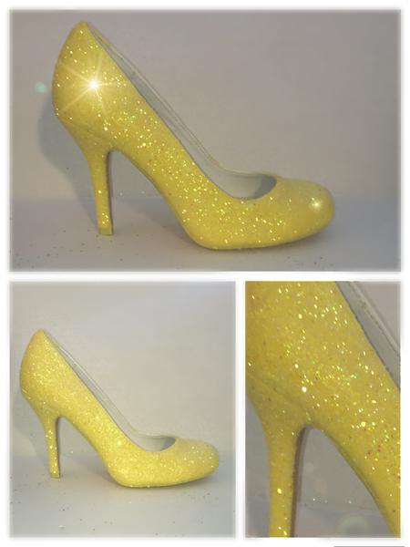Women's Sparkly Canary Daisy Yellow Glitter pumps high & low heels wedding bride shoes - Glitter Shoe Co