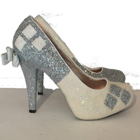 Women's Sparkly SuperHero white or Ivory Glitter high low Heels shoes Harley Quinn wedding bride