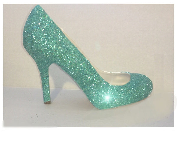 Women's Sparkly Mint Green Glitter pumps high & low heels wedding bride shoes