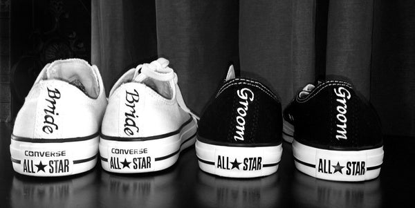 Mens Converse All Star Black Classic Canvas Sneakers Shoes Personalized wedding Groom - Glitter Shoe Co