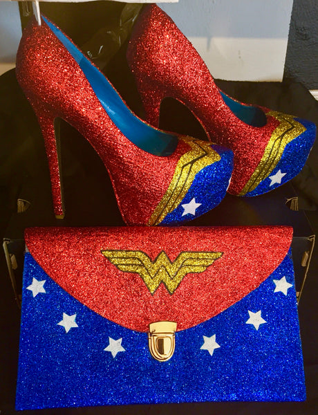 Woman Sparkly Wonder WW Super Hero Glitter heels shoes wedding bride