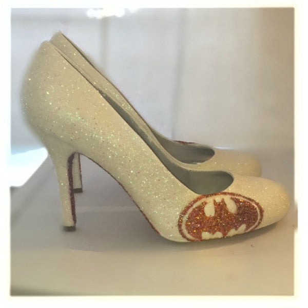 Sparkly White or Ivory Glitter superhero Batman Rose Gold Pink Heels wedding bride prom shoes