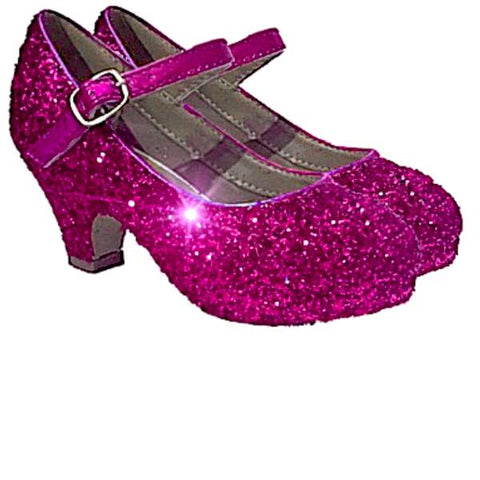 Girls Sparkly Glitter Mary Jane Heels Flower Girl Birthday Gift Pageant Shoes Fuchsia Pink
