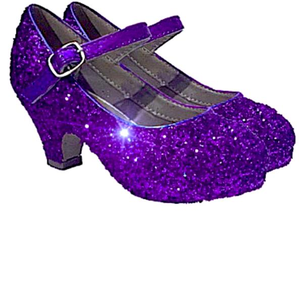 49bc8a419ed8 Girls Sparkly Glitter Mary Jane Heels Flower Girl Birthday Gift Pageant Shoes  Purple