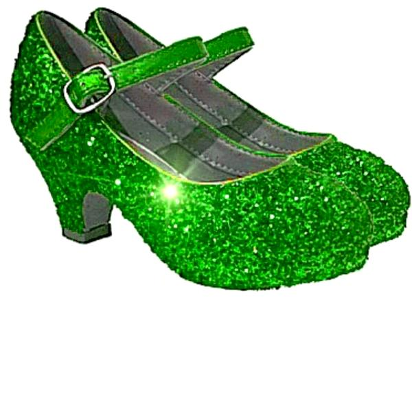 Girls Sparkly Glitter Mary Jane Heels Flower Girl Birthday Gift Pageant Shoes Lime Green