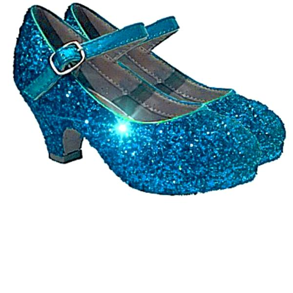 Girls Sparkly Glitter Mary Jane Heels Flower Girl Birthday Gift Pageant Shoes Turquoise Blue