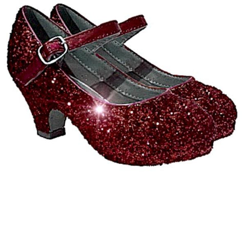 Girls Sparkly Glitter Mary Jane Heels Flower Girl Birthday Gift Pageant Shoes Burgundy Maroon Red