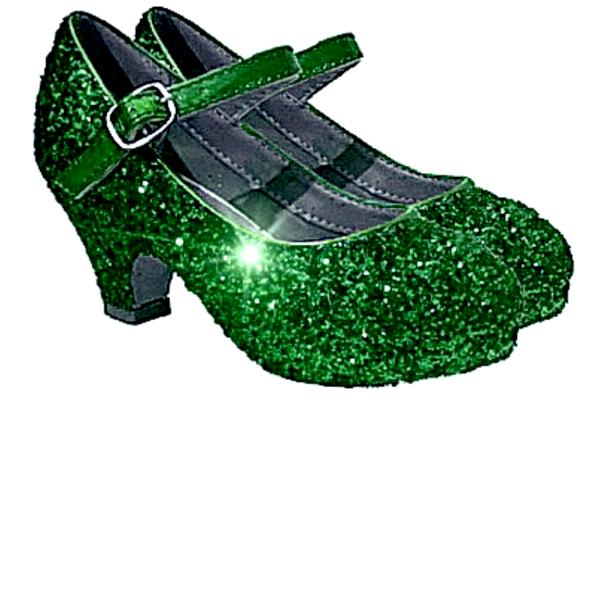 Girls Sparkly Glitter Mary Jane Heels Flower Girl Birthday Gift Pageant Shoes Green