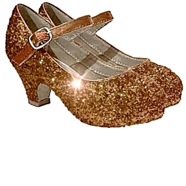 Girls Sparkly Glitter Mary Jane Heels Flower Girl Birthday Gift Pageant Shoes Copper Bronze