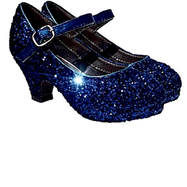 Girls Sparkly Glitter Mary Jane Heels Flower Girl Birthday Gift Pageant Shoes Navy Blue