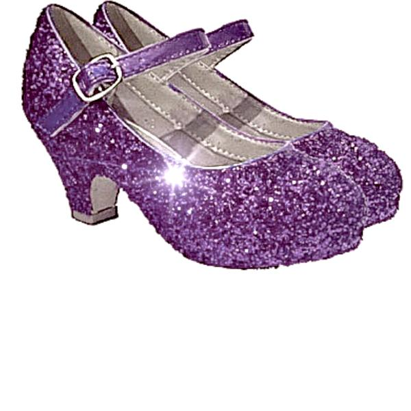 Girls Sparkly Glitter Mary Jane Heels Flower Girl Birthday Gift Pageant Shoes Violet Lavender