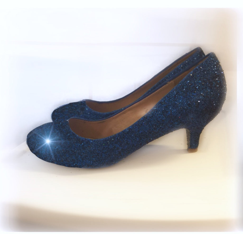 Women's Sparkly Navy Blue Glitter Pumps kitten Heels shoes - NAVY BLUE