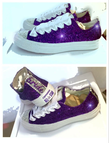 Sparkly Glitter & Crystals Converse All Stars mono Royal Purple Regency Plum Bride Wedding shoes