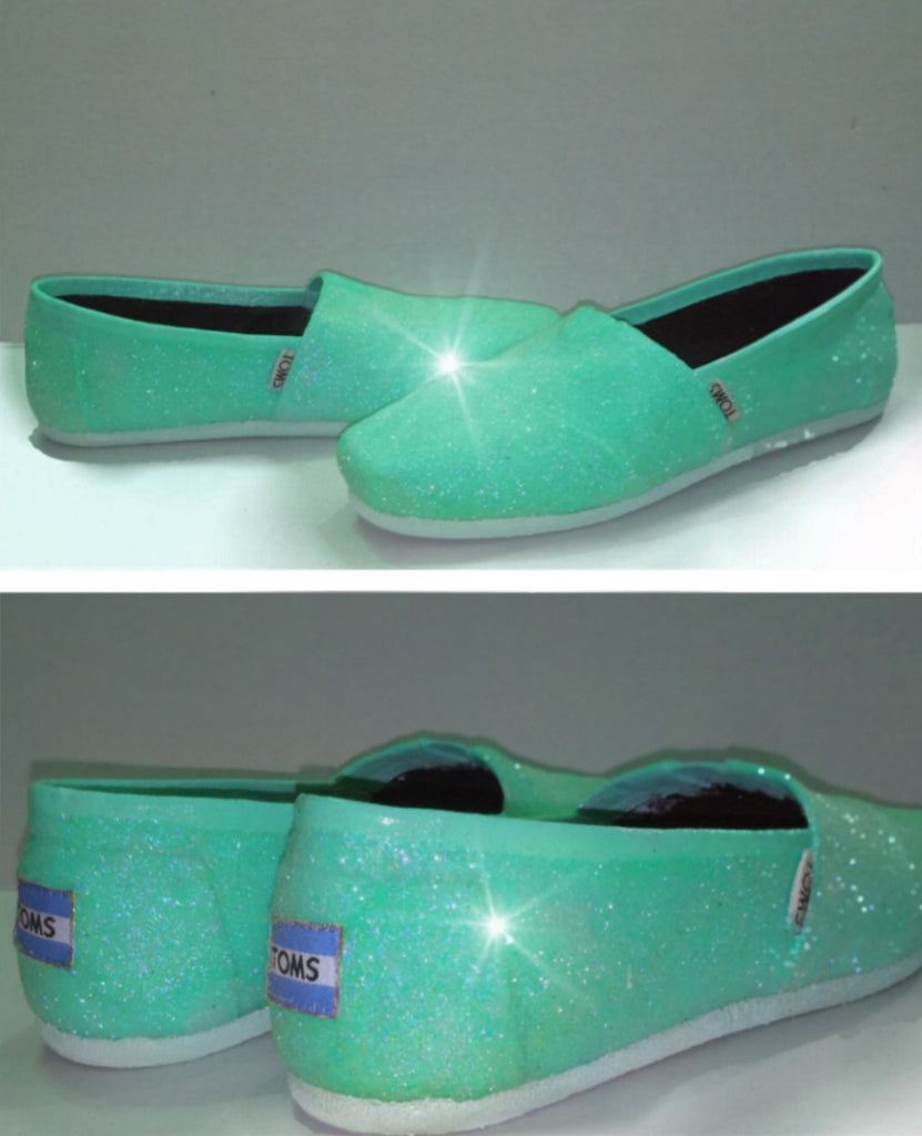 Womens Sparkly Glitter Toms Flats shoes bridal Bride Wedding Comfortable Mint Green - Glitter Shoe Co