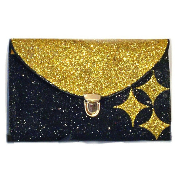 Sparkly Sports Football Glitter Clutch Purse Black Gold Handbag Wallet gift Pittsburgh