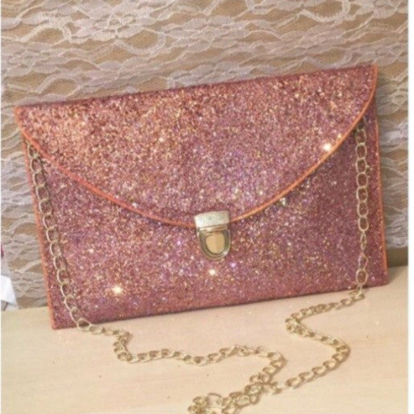 Sparkly Metallic Rose Gold Glitter Clutch Purse Pink Gold Handbag wedding  bride gift 4056f0f34
