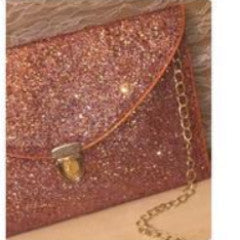 Sparkly Metallic Rose Gold Glitter Clutch Purse Pink Gold Handbag
