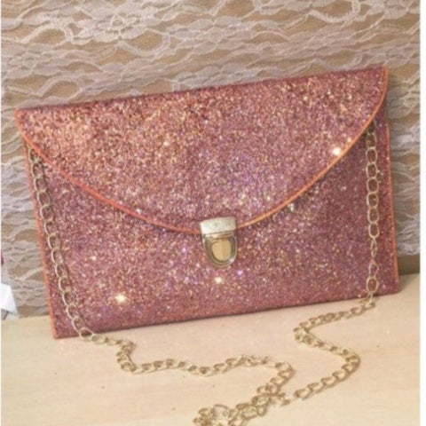 Sparkly Metallic Rose Gold Glitter Clutch Purse Pink Gold Handbag wedding bride gift