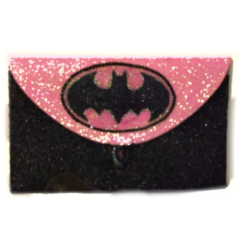 Sparkly SuperHero Glitter Clutch Purse Black Pink Handbag Gift Batman heels