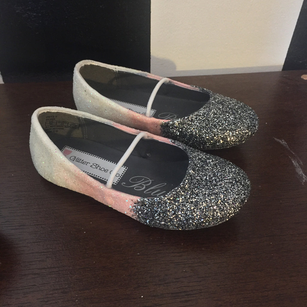 92615ba1537 ... Girls Sparkly Ombre Glitter Ballet Flats Shoes Birthday Flower Baby  Girl Toddler Pink White Silver