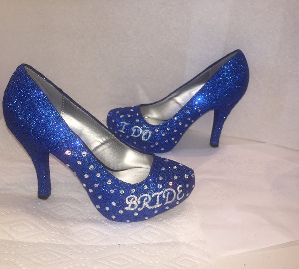 Sparkly Royal Blue Glitter high & low Heels wedding bride Peep toe or Pumps shoes Personalized - Glitter Shoe Co