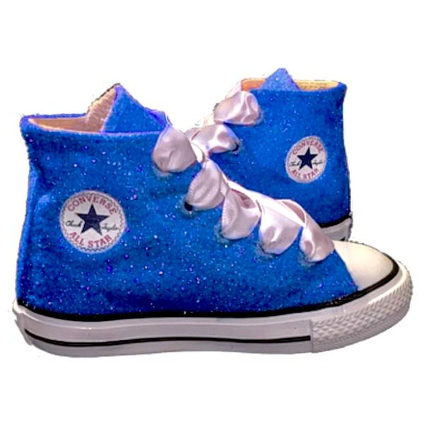 f0b4f374e69 ... Kids Sparkly Glitter Converse All Stars Bling Crystals Flower Girls  birthday Shoes Cobalt Blue