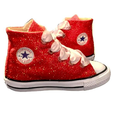 Kids Sparkly Glitter Converse All Stars High Top Bling Crystals Flower Girls birthday Shoes red