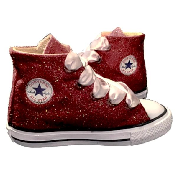 Kids Sparkly Glitter Converse All Stars Flower Girls birthday Shoes Burgundy Maroon Wine