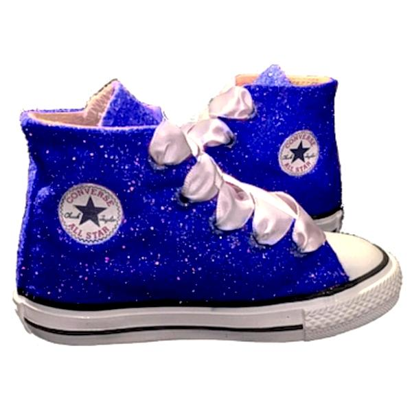 Kids Sparkly Glitter Converse All Stars Bling Crystals Flower Girls birthday Shoes Royal Blue