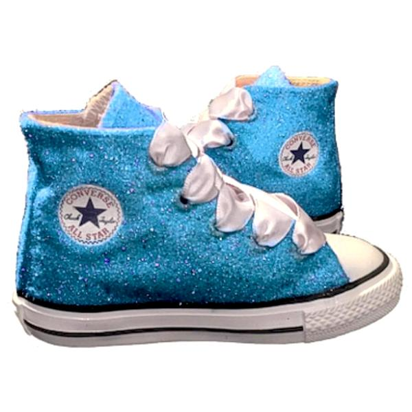 Kids Sparkly Glitter Converse All Stars Bling Crystals Flower Girls birthday Shoes Turquoise Blue
