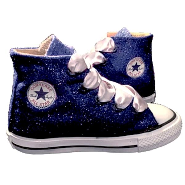 Kids Sparkly Glitter Converse All Stars Bling Crystals Flower Girls birthday Shoes Navy Blue