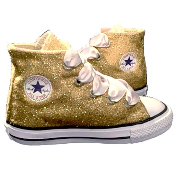 768aa9aa606 Kids Sparkly Glitter Converse All Stars Flower Girls birthday Shoes Gold  Champagne