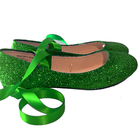 Sparkly Mermaid Green Glitter Ballet Flats shoes wedding bride Womens Satin Tie up Bow