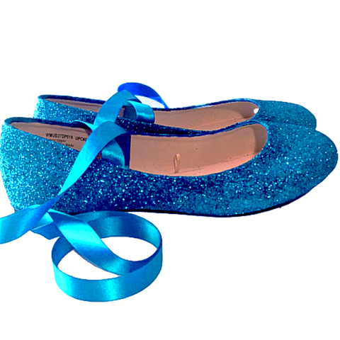 Sparkly Turquoise blue Glitter Ballet Flats shoes wedding bride Womens Satin Tie up Bow