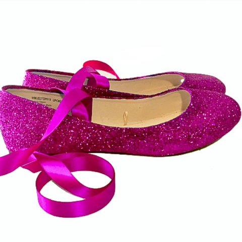 Womens Pink Glitter Ballet Flat Satin Ribbon Wedding Bridal Shoes