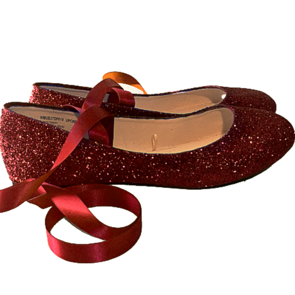 Sparkly Maroon Burgundy Glitter Ballet Flats shoes wedding bride Womens Satin Tie up Bow