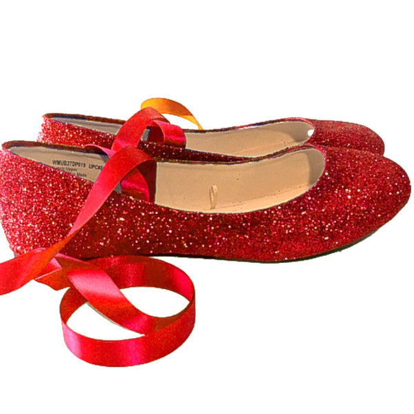 Women's Cherry Red Glitter Ballet Flat Satin Ribbon Wedding Bridal Shoes