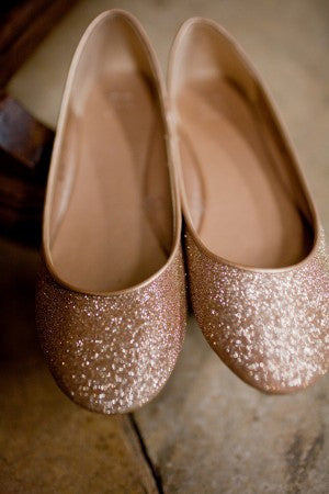 Sparkly Copper Bronze Glitter BALLET Flats bride wedding shoes - Glitter Shoe Co