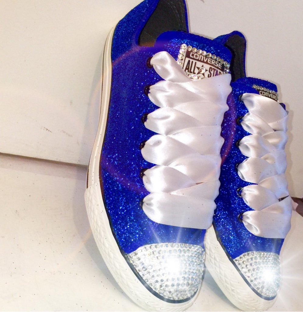 50a47b4e354e ... best price womens sparkly royal blue glitter crystals converse all star  wedding bride prom shoes df39c