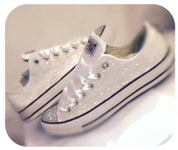 Sparkly White or Ivory Glitter bling Converse All Stars Bride Wedding Shoes Sneakers