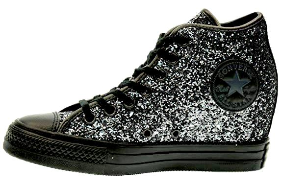 "Women's Sparkly Glitter Converse All Stars 3"" Hidden Wedge Heel - Gunmetal"