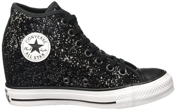 ... Sparkly Black Glitter Converse All Stars Wedge Heel Wedding Bride Prom  Shoes Bridal sneakers - Glitter ... 2770aae44