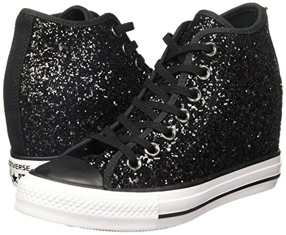 Sparkly Black Glitter Converse All Stars Wedge Heel Wedding Bride Prom Shoes Bridal sneakers - Glitter Shoe Co